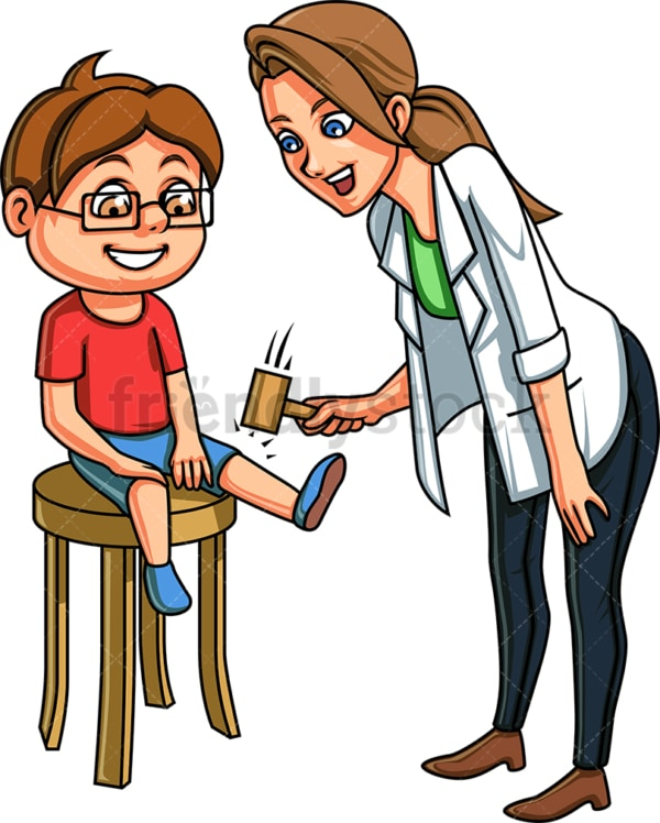 Doctor checking kid's knee reflexes. PNG - JPG and vector EPS file formats (infinitely scalable). Image isolated on transparent background.