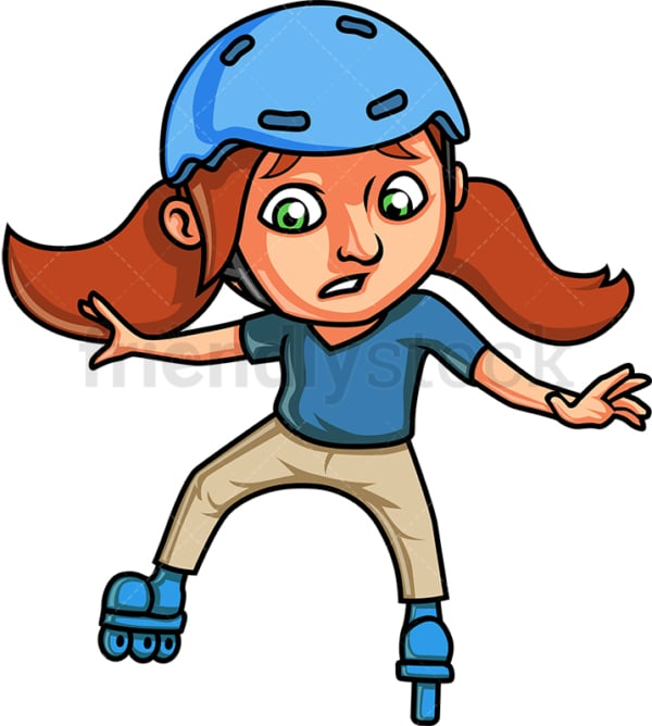 Girl roller skating in helmet. PNG - JPG and vector EPS. Isolated on transparent background.