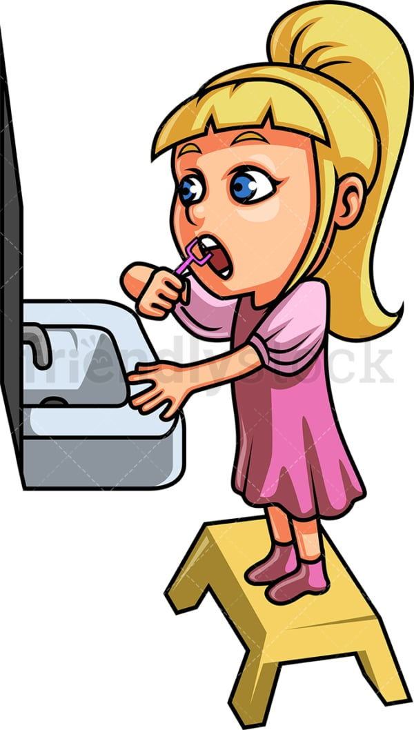 Little girl using dental floss. PNG - JPG and vector EPS file formats (infinitely scalable). Image isolated on transparent background.