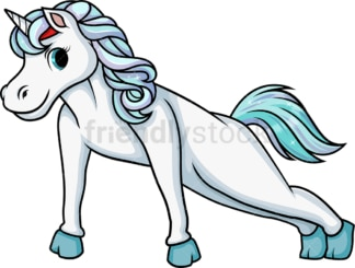 Unicorn doing push ups. PNG - JPG and vector EPS (infinitely scalable).