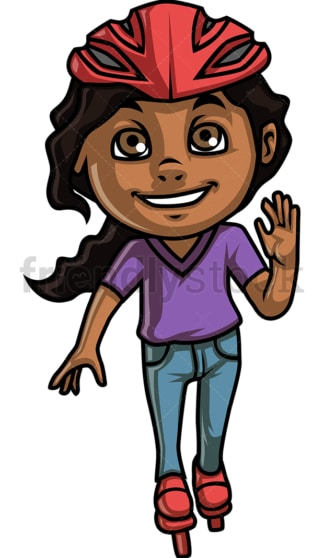 African-American girl roller skating. PNG - JPG and vector EPS. Isolated on transparent background.