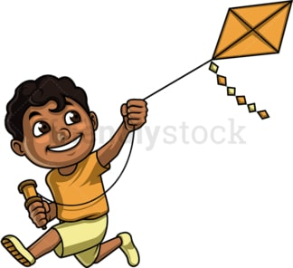 Black kid with kite. PNG - JPG and vector EPS (infinitely scalable). Image isolated on transparent background.