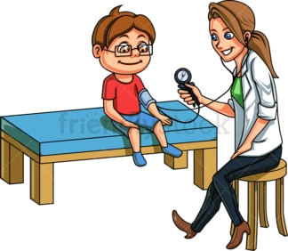 Doctor taking blood pressure from kid. PNG - JPG and vector EPS file formats (infinitely scalable). Image isolated on transparent background.