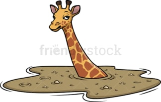 Giraffe in quicksand. PNG - JPG and vector EPS (infinitely scalable).