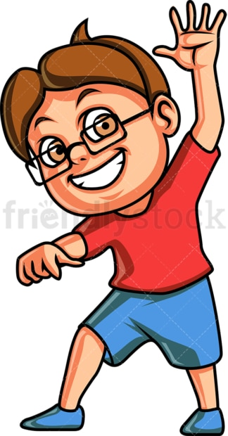 Little boy waving. PNG - JPG and vector EPS (infinitely scalable).