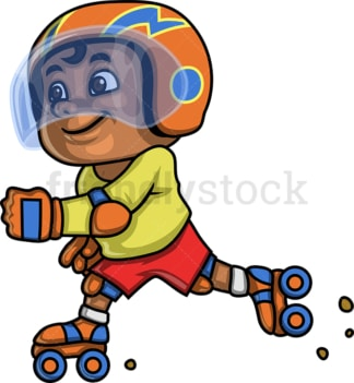 African-American boy roller skating. PNG - JPG and vector EPS. Isolated on transparent background.