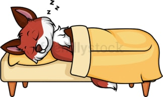 Fox sleeping in bed. PNG - JPG and vector EPS (infinitely scalable).