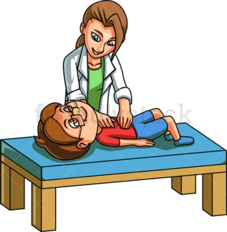 Kid having tummy pressed by doctor. PNG - JPG and vector EPS file formats (infinitely scalable). Image isolated on transparent background.