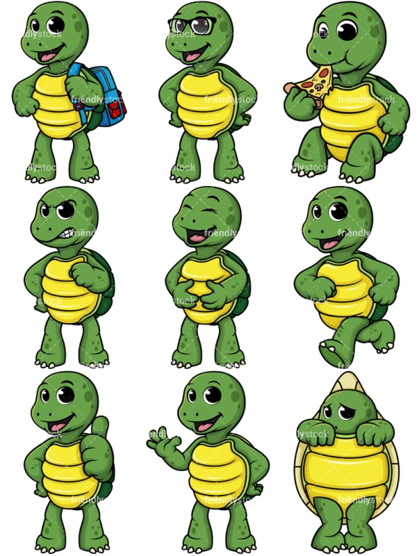 Cute turtle mascot. PNG - JPG and vector EPS file formats (infinitely scalable).