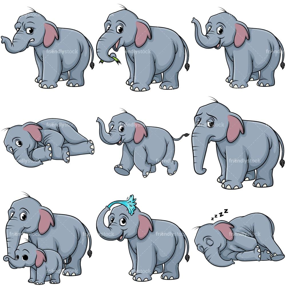 Wild Elephant Cartoon Clipart Collection - FriendlyStock