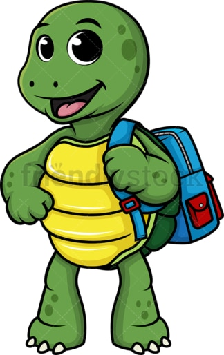 Turtle wearing backpack. PNG - JPG and vector EPS (infinitely scalable).