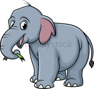Elephant eating grass. PNG - JPG and vector EPS (infinitely scalable).