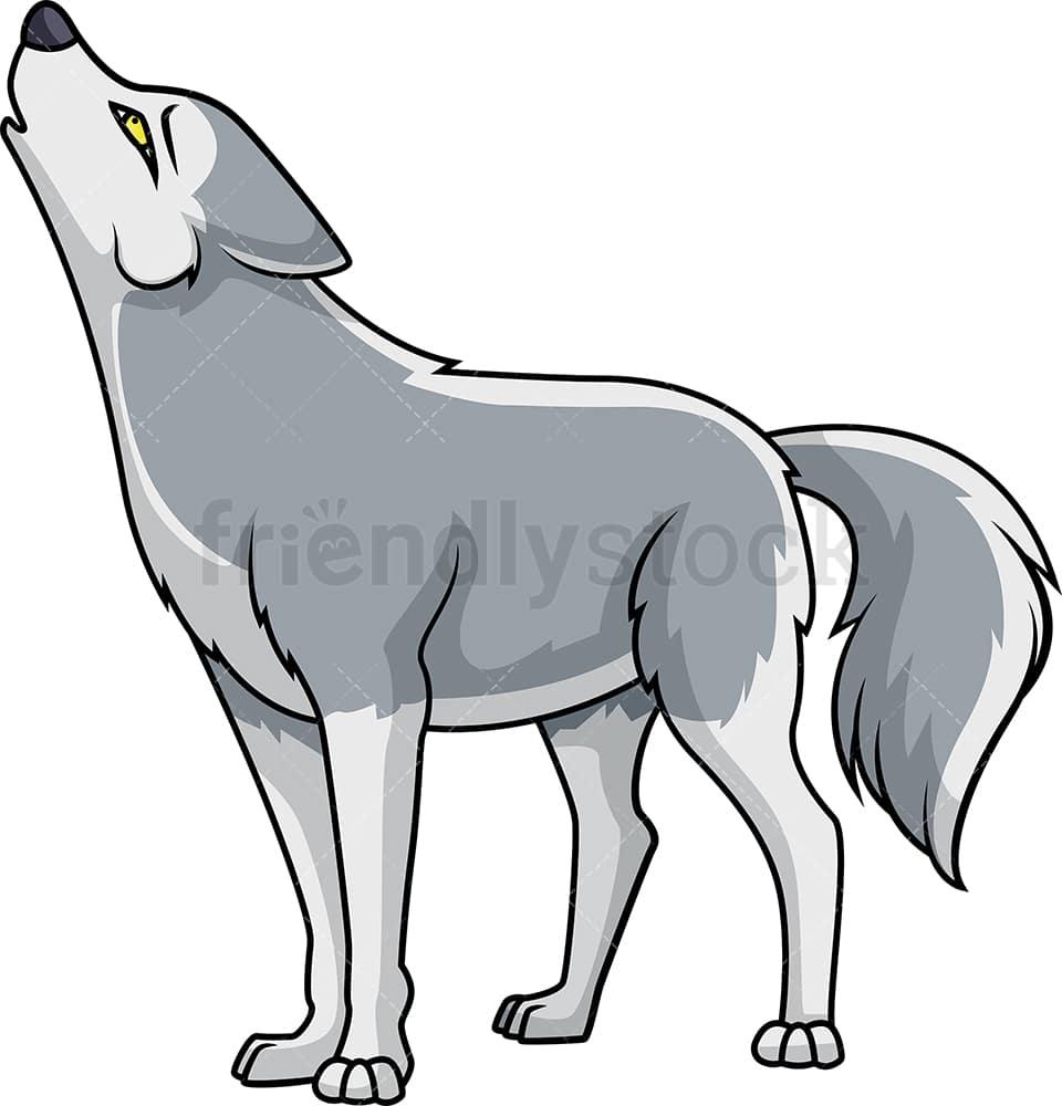 Howling Wolf Cartoon Clipart Vector - FriendlyStock
