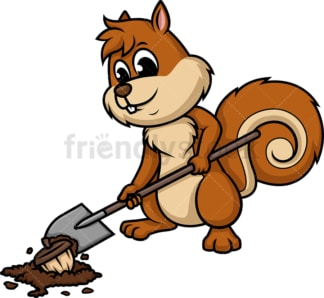 Squirrel hiding nuts. PNG - JPG and vector EPS (infinitely scalable).