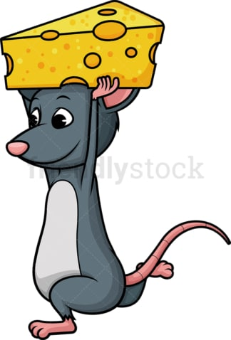 Mouse carrying cheese. PNG - JPG and vector EPS (infinitely scalable).