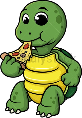 Turtle eating pizza. PNG - JPG and vector EPS (infinitely scalable).