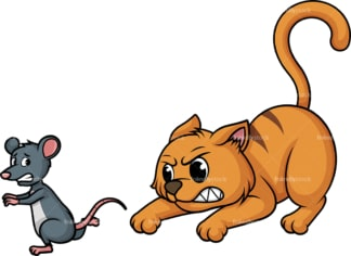 Cat chasing mouse. PNG - JPG and vector EPS (infinitely scalable).