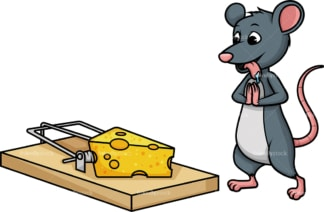 Mouse standing near trap. PNG - JPG and vector EPS (infinitely scalable).
