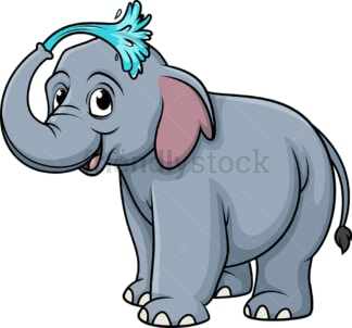 Elephant showering. PNG - JPG and vector EPS (infinitely scalable).