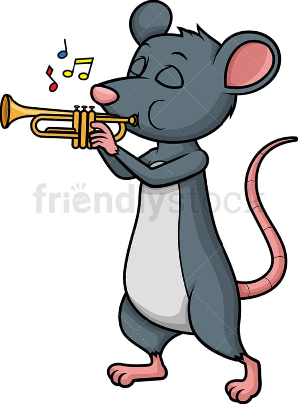Mouse playing trumpet. PNG - JPG and vector EPS (infinitely scalable).
