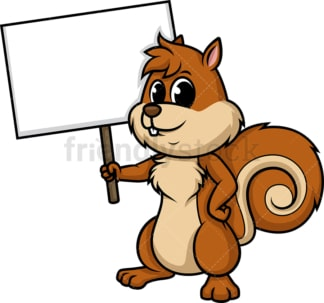 Squirrel holding empty sign. PNG - JPG and vector EPS (infinitely scalable).
