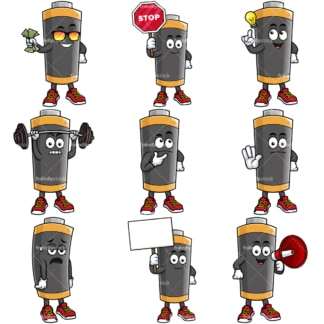 Battery cartoon character. PNG - JPG and vector EPS file formats (infinitely scalable).