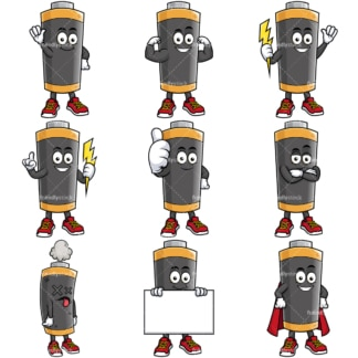 Battery mascot. PNG - JPG and vector EPS file formats (infinitely scalable).