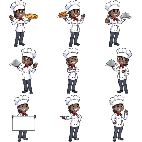 Black female chef. PNG - JPG and vector EPS file formats (infinitely scalable).