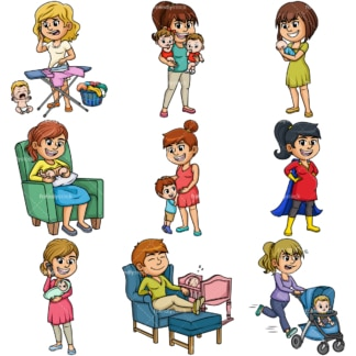 Cartoon mothers. PNG - JPG and vector EPS file formats (infinitely scalable). Image isolated on transparent background.