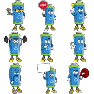 Green ecological green battery mascot. PNG - JPG and vector EPS file formats (infinitely scalable).