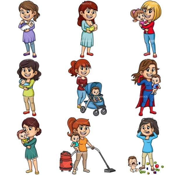 Everyday mothers. PNG - JPG and vector EPS file formats (infinitely scalable). Image isolated on transparent background.