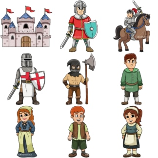 Medieval cartoon clipart collection 1. PNG - JPG and vector EPS file formats (infinitely scalable).