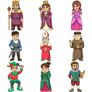 Medieval cartoon clipart collection 2. PNG - JPG and vector EPS file formats (infinitely scalable).