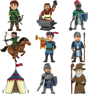 Medieval cartoon clipart collection 3. PNG - JPG and vector EPS file formats (infinitely scalable).