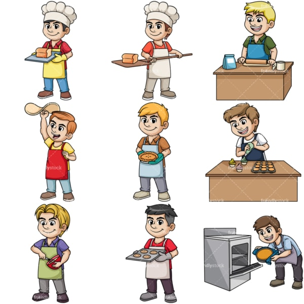 Men baking. PNG - JPG and vector EPS file formats (infinitely scalable). Image isolated on transparent background.