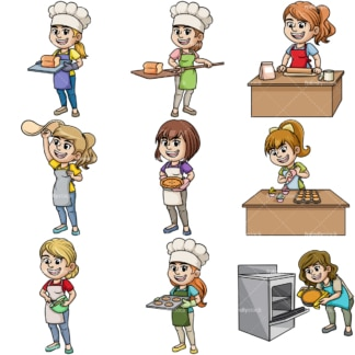 Women baking. PNG - JPG and vector EPS file formats (infinitely scalable). Image isolated on transparent background.
