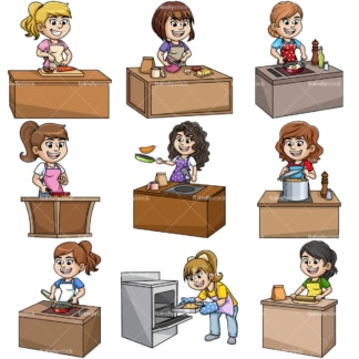Women cooking. PNG - JPG and vector EPS file formats (infinitely scalable).
