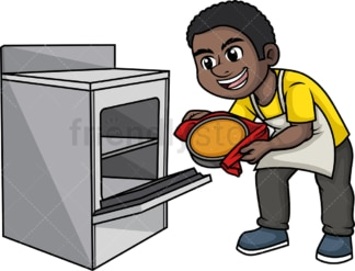 Black man baking. PNG - JPG and vector EPS (infinitely scalable). Image isolated on transparent background.
