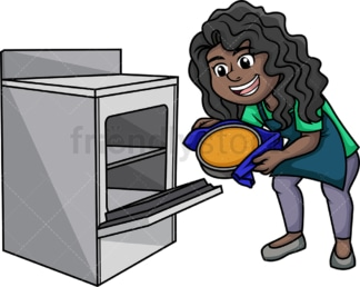 Black woman baking. PNG - JPG and vector EPS (infinitely scalable). Image isolated on transparent background.