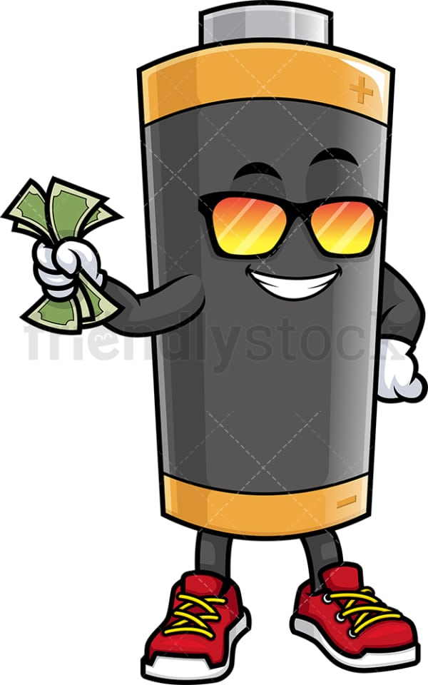 Battery mascot holding money. PNG - JPG and vector EPS (infinitely scalable).