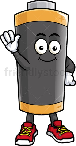 Battery mascot waving. PNG - JPG and vector EPS (infinitely scalable).
