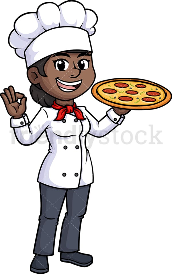 Black female chef holding pizza. PNG - JPG and vector EPS (infinitely scalable).
