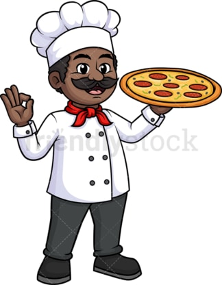 Black male chef holding pizza. PNG - JPG and vector EPS (infinitely scalable).