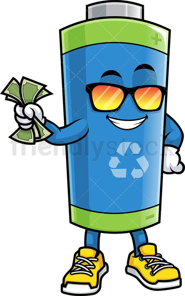 Green ecological battery holding cash. PNG - JPG and vector EPS (infinitely scalable).