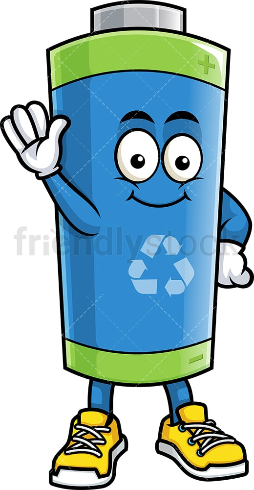 Ecological battery waving. PNG - JPG and vector EPS (infinitely scalable).