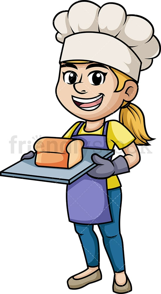 Female baker holding loaf of bread. PNG - JPG and vector EPS (infinitely scalable). Image isolated on transparent background.