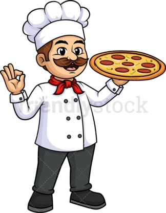 Male chef holding pizza. PNG - JPG and vector EPS (infinitely scalable).