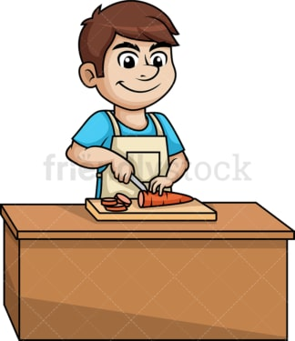 Man chopping carrot. PNG - JPG and vector EPS (infinitely scalable).