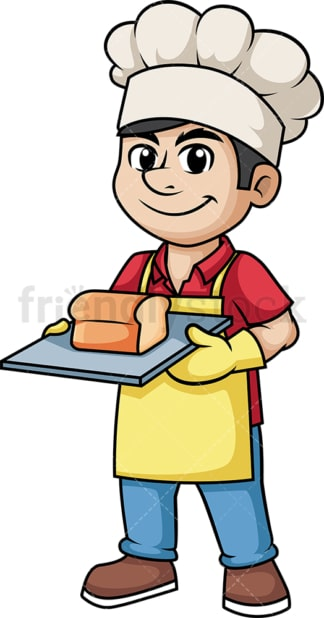 Man holding freshly baked bread. PNG - JPG and vector EPS (infinitely scalable). Image isolated on transparent background.