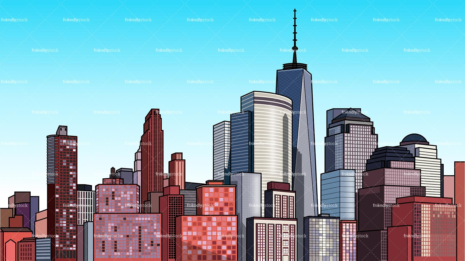 Modern City Background Cartoon Clipart Vector - FriendlyStock